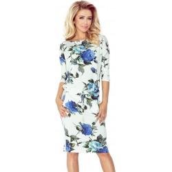 NUMOCO šaty dámské 13-65 sportovní - béžové s květy 3caec28523c