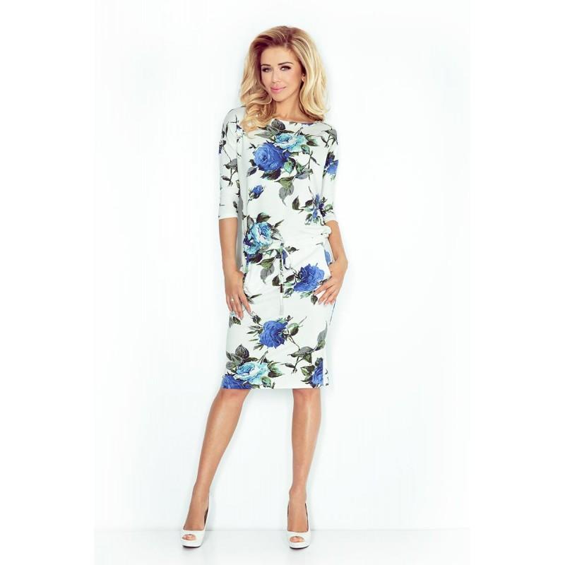 7d1c2624cb5a NUMOCO šaty dámské 13-65 sportovní - béžové s květy - AZ-MODA.CZ