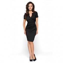 KARTES MODA šaty KM56 s obálkovým výstřihem černé