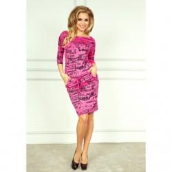 SAF šaty dámské 13-26 Elegantní potisk noviny