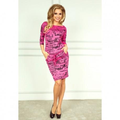 NUMOCO šaty dámské 13-26 Elegantný potlač noviny - AZ-MODA.CZ 78a0a22a61c